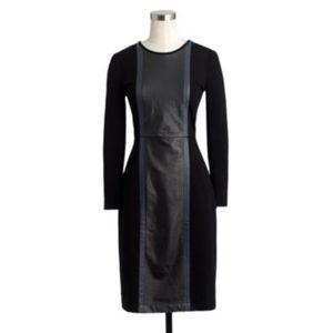 J. Crew Leather Panel Ponte Sheath Dress